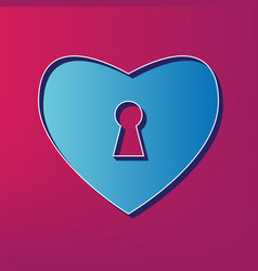 heart with lock sign blue 3d printed icon vector image