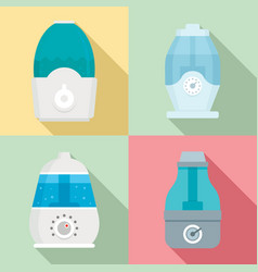 Humidifier icon set flat style vector