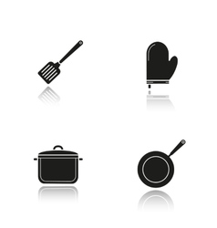 Kitchenware drop shadow black icons set vector image