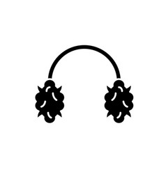 knitted headphones black icon sign on vector image