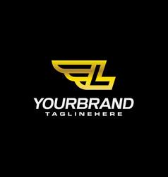 letter l winged logo alphabet logotype design vector image
