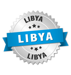 Libya round silver badge with blue ribbon vector