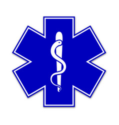 life star medical snake icon in blue color vector image