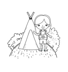 little tourist girl with teepee vector image