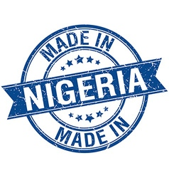 made in Nigeria blue round vintage stamp vector image