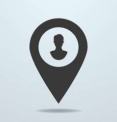 Map pointer with a male symbol vector image
