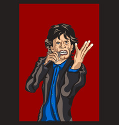 mick jagger of the rolling stones cartoon vector image