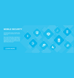 Mobile security banner 10 icons conceptmobile vector