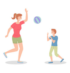 Mom and son play ball beach volleyball vector
