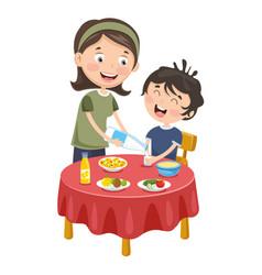 mother prepare breakfast for kid vector image