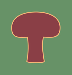 Mushroom simple sign cordovan icon and vector
