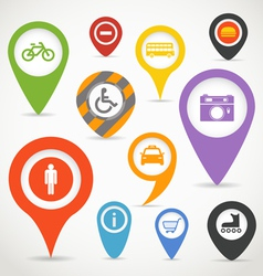Navigation elements with transport icons vector