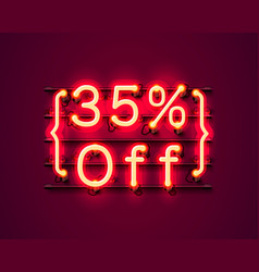 neon frame 35 off text banner night sign board vector image