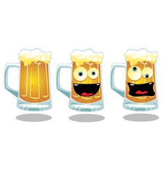 Normal and Funny Glasses of Beer vector image