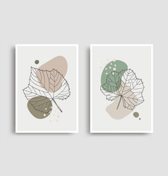 organic shape leaves design for wall decoration vector image