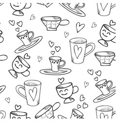 outlined seamless pattern with cups and vector image