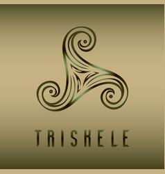 Pagan celtic symbol triskele on blur background vector
