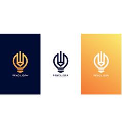 pencil lamp idea logo design vector image