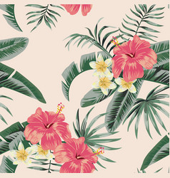 plumeria hibiscus leaves tropical seamless pattern vector image