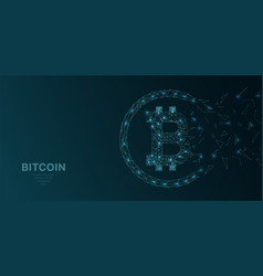 polygonal wireframe mesh futuristic with bitcoin vector image