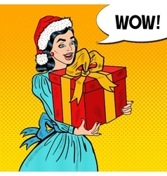 Pop Art Happy Woman Holding Christmas Gift Box vector image
