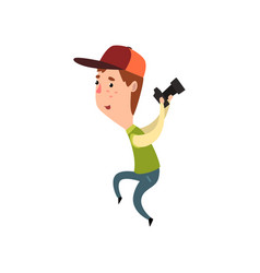professional male photographer paparazzi with vector image