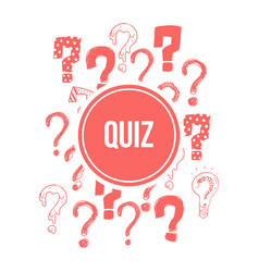 quiz banner design with pink hand drawn question vector image