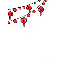 Red lantern mobile hanging watercolor background vector