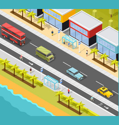 Resort city transport background vector