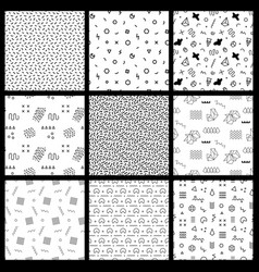 Retro geometric seamless patterns 80-90s style vector