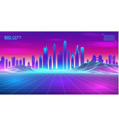 Retro wave background80s city80s future vector