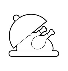 roasted turkey on tray for thanksgiving vector image