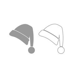 santa claus christmas hat icon grey set vector image
