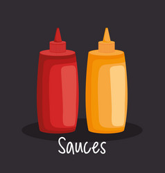 sauces bottles fast food icons vector image
