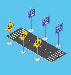School roadway on street parking lot vector