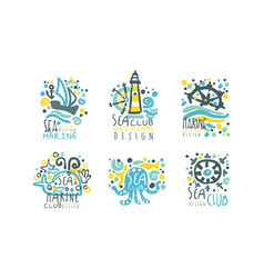 sea club original logo design templates collection vector image