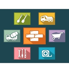 set construction icons on flat design style vector image