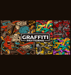 set of seamless patterns with graffiti art vector image