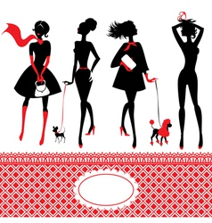 Set silhouettes fashionable girls on a white vector