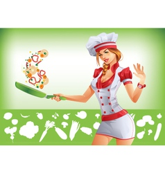 Sexy woman cooking vector