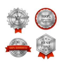 Silver metallic Quality badges or labels vector
