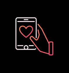 smartphone with heart in hand colorful vector image