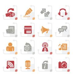 stylized blogging communication social network vector image
