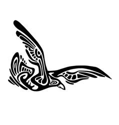 Stylized flying wild eagle isolated on white vector