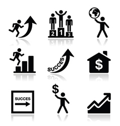 Success in business self development icons set vector image