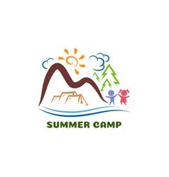 summer camp logo funny cartoon logo template vector image