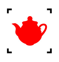 tea maker kitchen sign red icon inside vector image