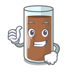 thumbs up chocolate milk the containing nutrition vector image