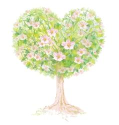 tree spring heart vector image