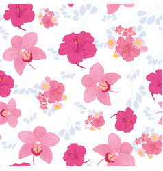Tropical flowers seamless pattern print vector